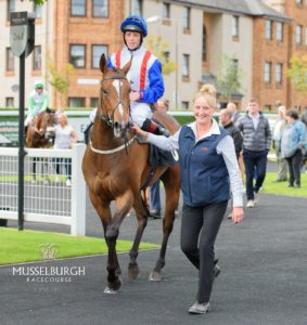 Havana Mariposa parades at Musselburgh Racecourse, ridden by Ben Curtis in Hope Eden Racing silks and handled by Nikki Hazell.